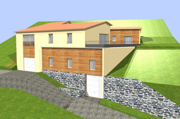 Perfect maison la valla en gier with maison en pente for Construction piscine sur terrain non constructible